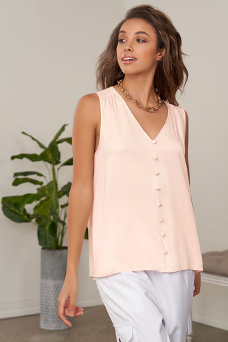 front_Step By Step Pink Sleeveless Top