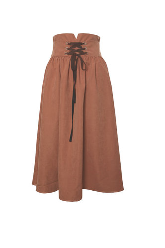 front_Round About Brown Faux Suede Skirt