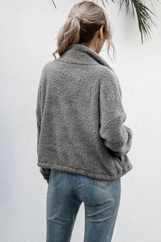 back_Determination Light Grey Teddy Jacket