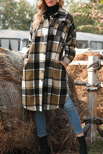 back_Casual Shirt Collar Plaid Pocket Multicolor Outerwear
