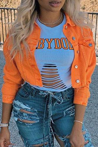 front_Lili Eve Orange Button Up Jacket