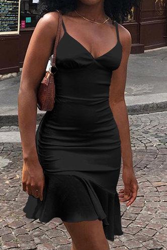 front_Buena Ella Black Flounce Hem Slip Dress