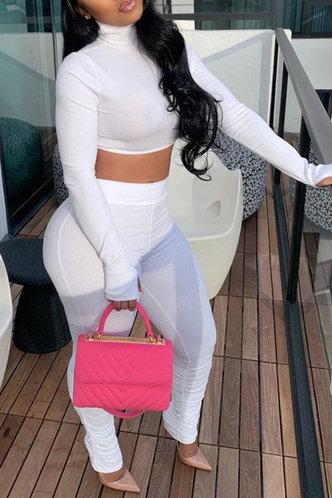 back_Solid Color White Pants Sets