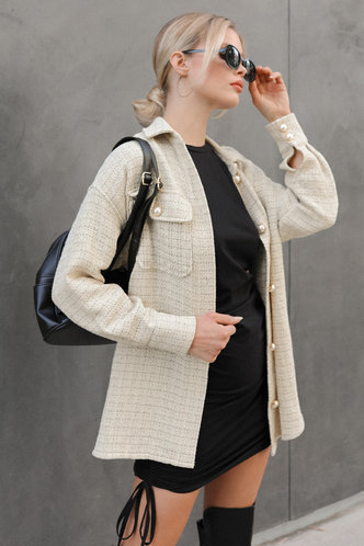 front_Pearly Apricot Plaid Button Front Coat