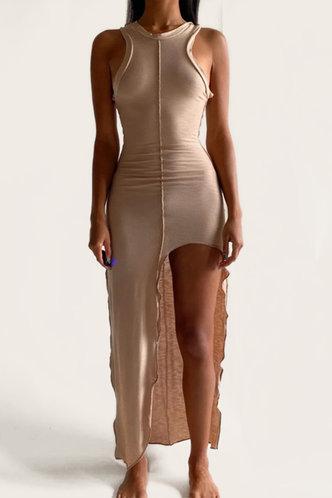 front_Bessie Elsie Khaki Lettuce Trim Dress
