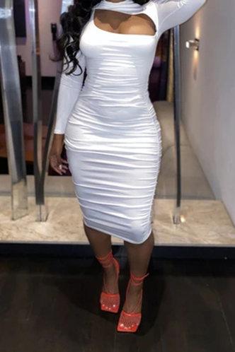 back_Daily Shopping Long Sleeve Round Neck White Dresses