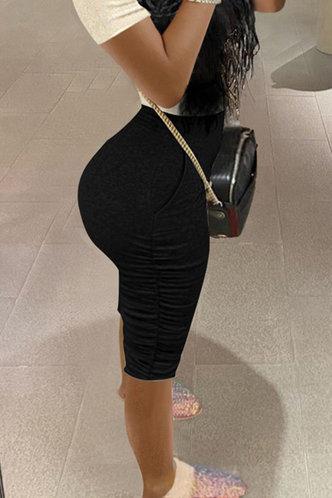 front_High Waist Black Shorts