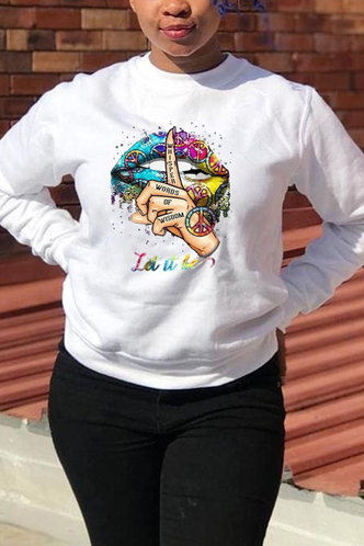 back_Crew Neck Graphic Print White Sweatshirts & Hoodies