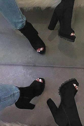 front_High Heel Open Toe Peep Toe Black Boots