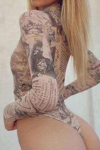 front_Rosemarie Elizabeth Beige Multi Print Bodysuit