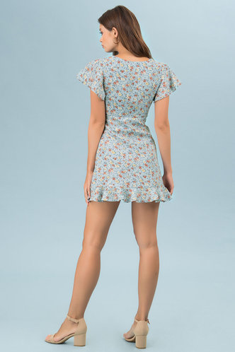 back_Blowing Kisses Blue Floral Print Mini Dress