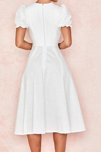 back_Clarice Emily White Puff Sleeve Dress