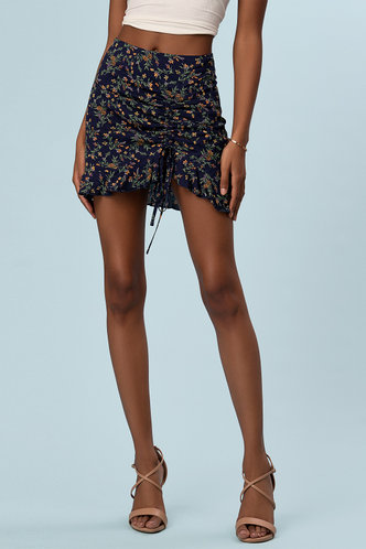 front_Keep You Forever Dark Navy Floral Print Skirt