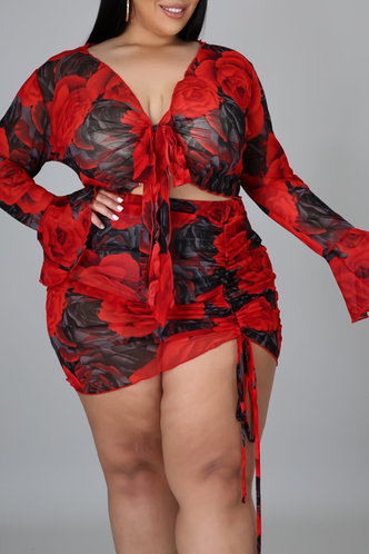 front_All Over Print  Drawstring Pullover and   Floral Print Plus Size Skirt Sets