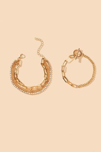 back_Casual Rainstone Gold Bracelets