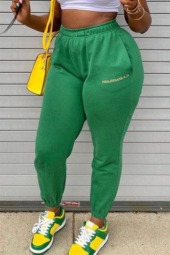 back_Mid Waist Long Green Sweatpants