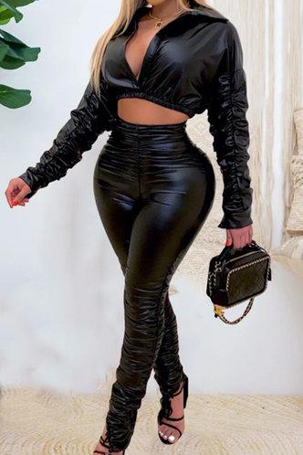 front_Shirred Pullover Black Pants Sets