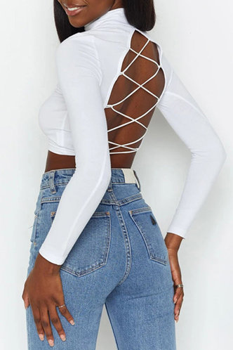 front_Canace White Lace-Up Crop Top
