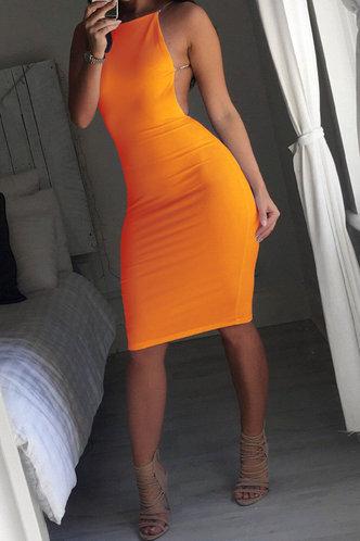 front_Party Sleeveless Halter Orange Plain Dresses
