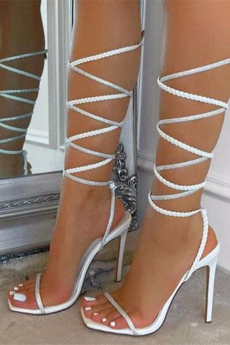front_Open Toe High Heel White Sandals