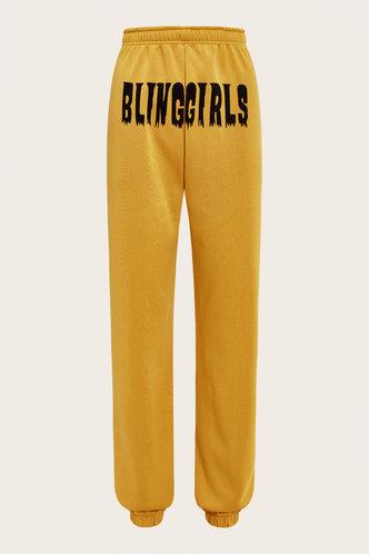 back_Mid Waist Letter Print  Yellow Sweatpants