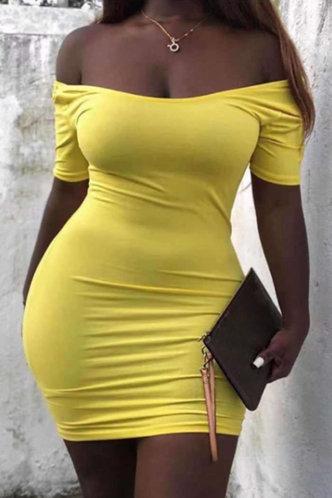 front_Evangeline Kunul Yellow Off Shoulder Bodycon Dress