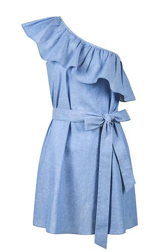 back_Something Real Blue Chambray Mini Dress