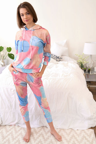 back_Down To The Wire Multicolor Hooded PJ Set
