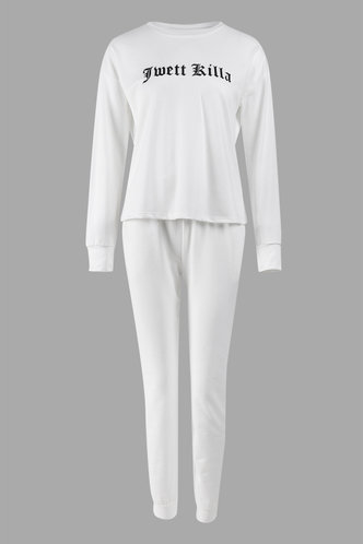 back_Letter Print Pullover White Pants Set