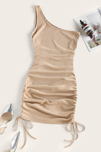 back_Yolande Elma Light Khaki One Shoulder Bobycon Dress