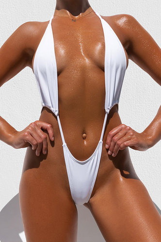 front_Halter Solid Color Bandage Backless White One-Piece Swimsuits
