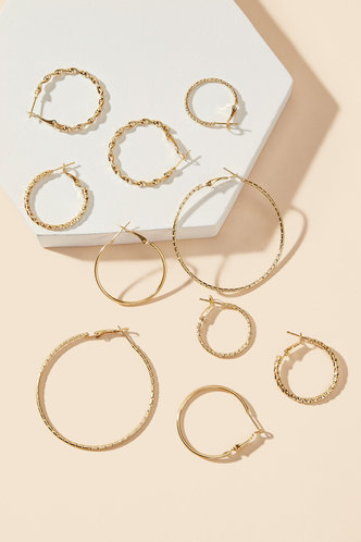 front_Ruth Eartha Gold Mixed Sized Hoop Earrings 5pairs