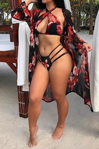 front_Halter All Over Print Backless See-through Black Floral Print Bikini Sets