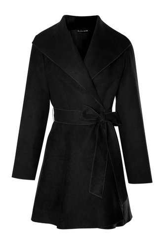 front_Cool Temps {color} Belted Waterfall Coat