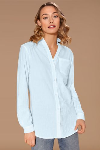 front_Find You Sky Blue Long Sleeve Top