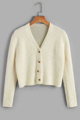 front_Poppin' Champagne Beige Ribbed Knit Cardigan