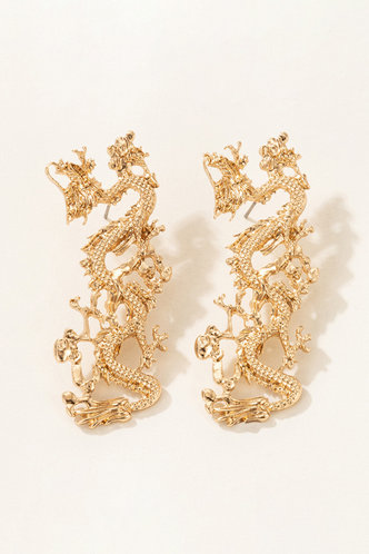 back_Fanny Jablich Gold Chinese Dragon Design Drop Earring 1pair