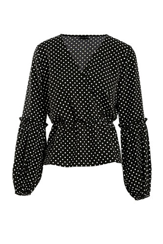 front_Alberta Eden Black And White Polka Dots Blouse