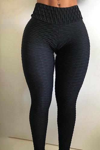back_Mid Waist Pencil Pants Black Activewear Bottoms