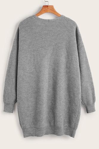 back_Bima Grey Drop Shoulder Cardigan