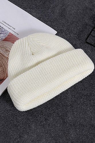 front_Casual Solid Color White Hats & Gloves