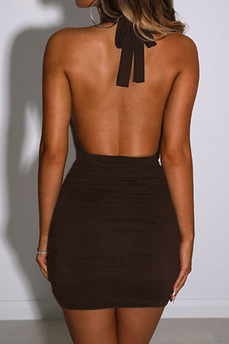 back_Sheila Eartha Dark Brown Cutout Halter Dress