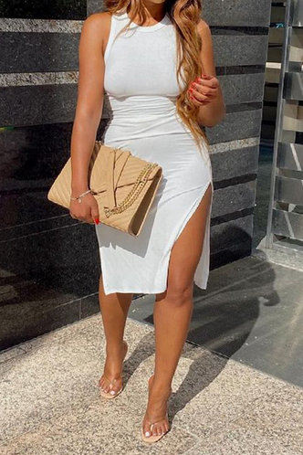 front_Britt Esther White Split Thigh Dress