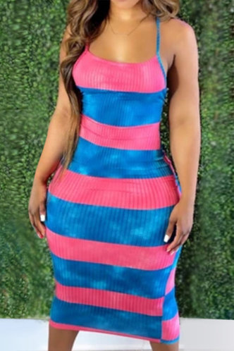 front_Kama Emma Pink And Blue Halter Bodycon Dress