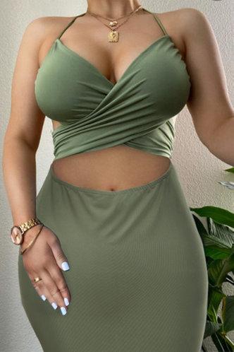 front_Vacation Party Knee Length Sleeveless Halter Green Plain Dresses