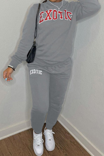 front_Pullover and   Light Grey Pants Sets