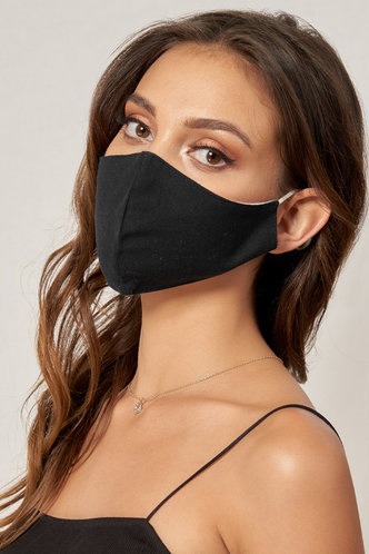 back_Non-medical Solid Color Cotton Reusable Face Mask Black