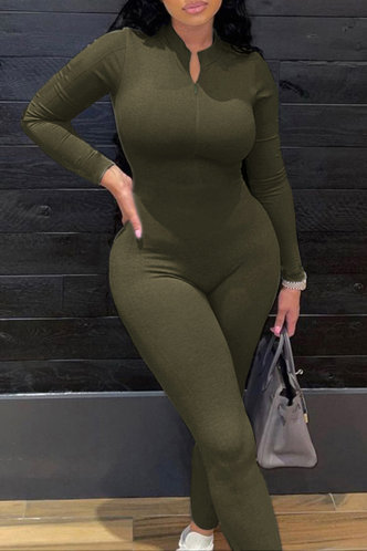 back_Casual Plain Hooded Collar Army Green Jumpsuits