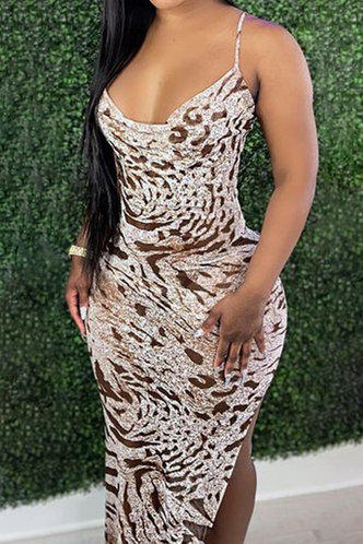 front_Leda Erin Brown Cami Split Thigh Dress