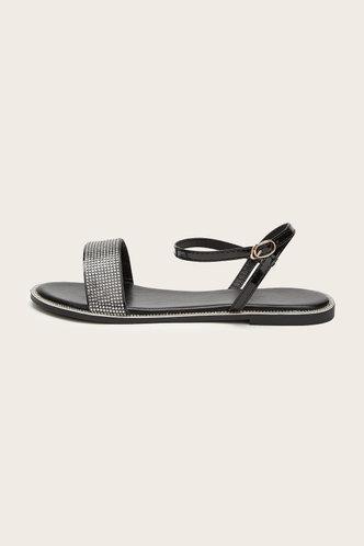 back_Open Toe Flat Black Sandals